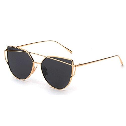 FRAUIT Herren Damen Mode Klassische Twin-Beams Sonnenbrille Metallrahmen Spiegel Sonnenbrille Cat Eye Glasses Sport Freizeit Reisen Masquerade Festival Party Brillen