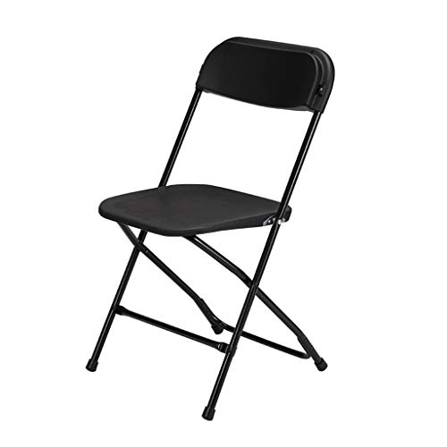 Sillas Plegables Silla Plegable de Resina, Sillas Portátiles para Conferencias para Visitantes Marco de Metal de Acero Fuerte para Asiento Temporal de Invitado Folding Chairs ( Color : Black )