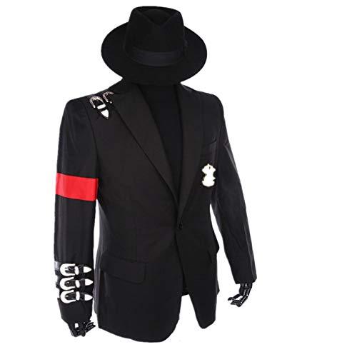 Shuanghao Michael Jackson Professionelle Cosplay Michael Jackson Kostüm Retro Punk Stil Schwarze Jacke Anzug Abzeichen (Geben Schwarze Hüte) (S: H 170-175cm)
