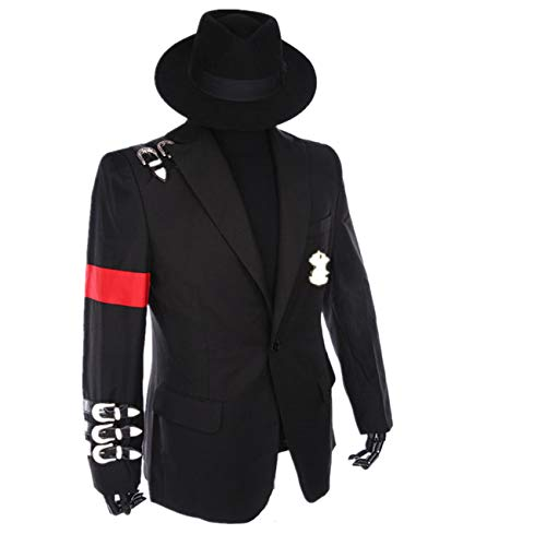 Michael Jackson professionele Cosplay kostuum Retro Punk stijl zwart Michael Jackson jassen pak Badge (geven zwarte hoeden)