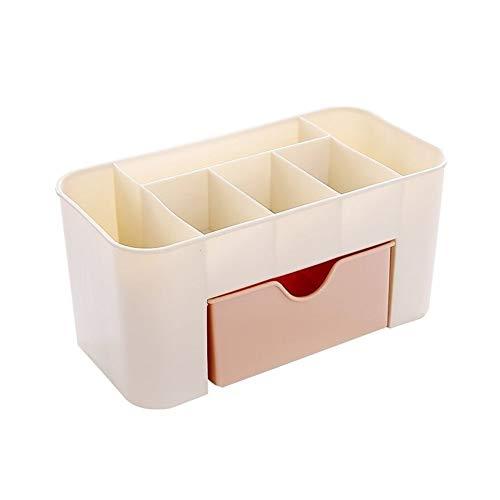 BAN SHUI JU MINSU GUANLI Caja De Almacenamiento De Cosméticos con Cajón Creativo Estante De Acabado De Almacenamiento De Joyería De Escritorio De Plástico (Color : Pink)