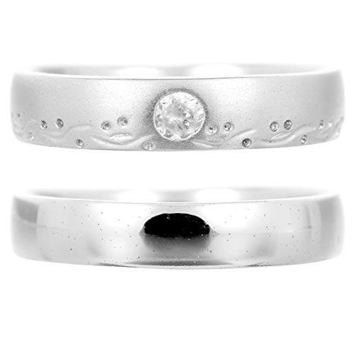 [ココカル]cococaru ペアリング 2本セット K18 ホワイトゴールド 結婚指輪 ダイヤモンド 日本製(レディースサイズ5号 メンズサイズ19号)
