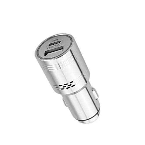 USB C Power Delivery Car Charger with Carbon Monoxide Detector, 7PETAL 304 Stainless Steel 2 Port Fast Charger with PD 3.0 & Quick Charge 3.0 Compatible for iPhone Samsung Google Pixel etc.