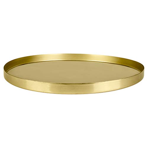 Koyal Wholesale Round Metal Tray, Brass, Candle Holder Centerpiece, Home Décor Decorative Table or Bar Tray, Metal Tray for Plants