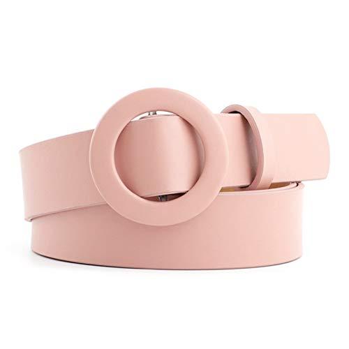ROTAKUMA Breite Schwarz Rot Braun Lederhose Gürtel weiblich Ring Schnalle Gürtel der Frauen für 0121 (Color : Pink)
