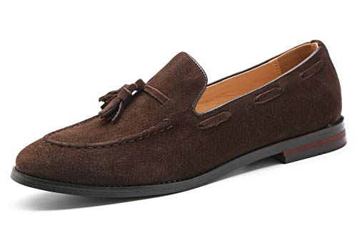 Santimon Mens Fashion Shoes Casual Dress Tassel Slip on Driving Flats Suede Loafers Brown 12.5 US