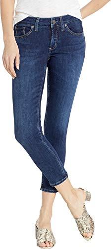 Silver Jeans Co. Women's Suki Curvy Fit Mid Rise Skinny Crop, Power Stretch Dark, 29W x 25L