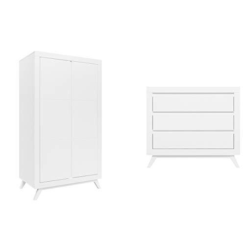 Commode à langer et armoire 2 portes Anne - Blanc
