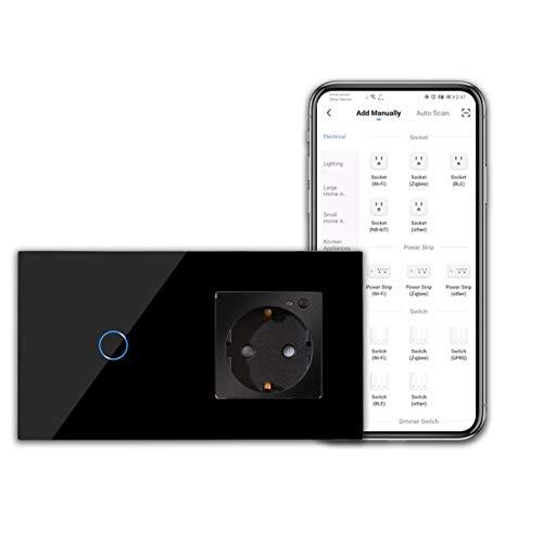 Enchufe CNBINGO WLAN e interruptor de luz inteligente, interruptor táctil de 1 compartimento y enchufe Schuko, funciona con Alexa / Google Home, aplicación Smart Life. Se requiere conductor neutro