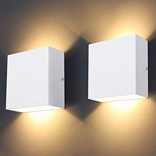MICUTU 2 Piezas Lámpara Pared Interior LED, 10 W Moderna Luz Pared Interior, Aplique Amarilla Cálida 3000 K, Lámpara Pared Moderna Perfecta para Sala Estar, Dormitorio, Pasillo, Balcón (Blanco)
