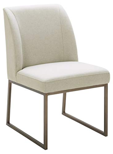 Amazon Brand – Rivet Contemporary Dining Chair with Brass Metal Base, 34'H, Chalk