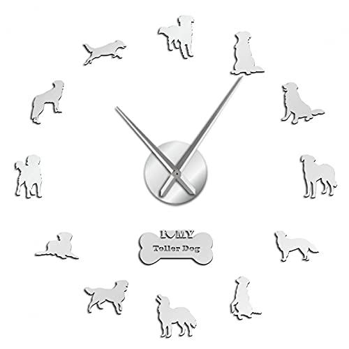 YQMJLF Reloj Pared DIY 3D Grande Pato peaje Retriever Perro Gigante Reloj de Pared Reloj toller Perro Sala de Estar decoración del hogar Tienda de Mascotas Regalo de Amante de Las Mascotas Plata