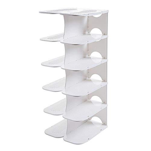 weichuang Zapatero de plástico multicapa, zapatero, zapatero, gabinete, zapatos, gabinete de almacenamiento, organizador de dormitorio, estante de almacenamiento (color: blanco)