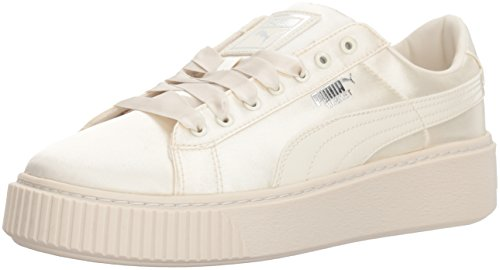 PUMA Girls' Basket Platform Tween Sneaker, Whisper White Whisper White, 10.5 M US Little Kid