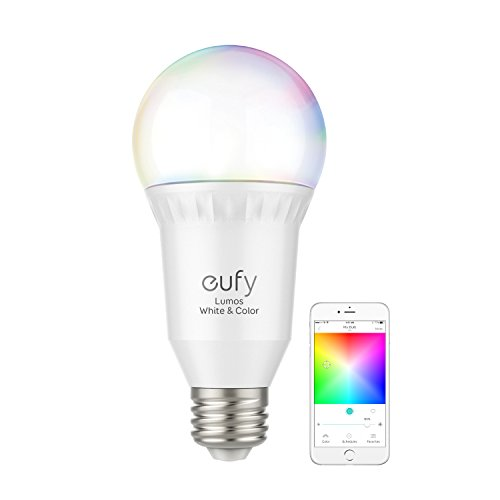 eufy Lumos Smart Bulb By Anker- White & Color, Tunable White, Multiple Colors, 9W, Compatible with Alexa & Google Assistant, No Hub Required, Wi-Fi, 60W Equivalent, Dimmable LED Light Bulb, A19, E26