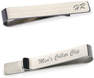 OXYEFEI Personalized Custom Mens High Polished Stainless Steel Tie Bar Pinch Clip Tie Clip Personalized product image
