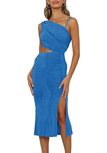 UMEKO Womens Elegant Sleeveless Side Split Satin Dress Cut Out Party Cocktail Midi Dress Royal Blue