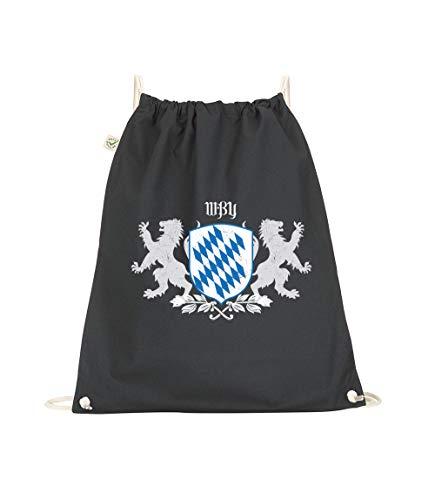 Turnbeutel Bayern Wappen, Rucksack Gym-Sack Turnbeutel, Umhängetasche Bedruckt Uriger-Styler, ECHT BAYERISCH München City (schwarz)