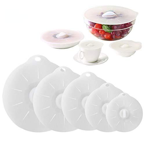 Silikondeckel 5er Set in Verschiedenen Größen, Öko Silikon Saugnapf Deckel, Vakuum Lebensmitteldeckel, Silikonsaugdeckel BPA Frei, Wiederverwendbare, FDA Genehmigt, für Schüssel, Tasse, Topf, Dosen