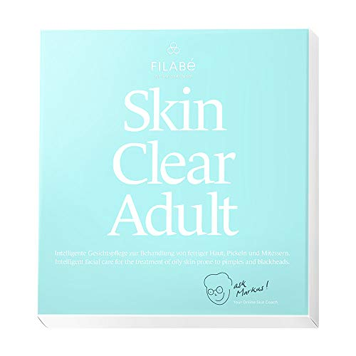 Filabé of Switzerland   SKIN CLEAR ADULT   Gesichtspflege zur Behandlung von öliger Haut mit Pickeln oder Mittessern, ab 22 Jahren   Packung: 1 Monat à 28 Anwendungen   frei von Zusatzstoffen & vegan