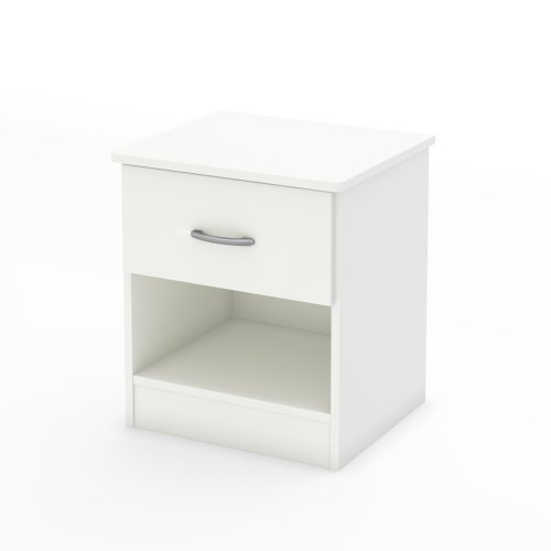 South Shore Libra 1-Drawer Nightstand, Pure White with Metal Handle