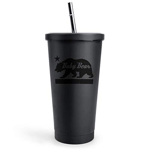 California Bear Family (BABY Bear) Home Black Double Wall Stainless Steel Cups Of with Lids and Straws Vacuum Insulated Tumbler Best Friend Gift Drinks Mug