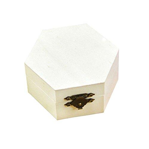 kentop Seis–Caja de madera con tapa para guardar joyas Madera Joyero caja de regalo para pintar DIY Manualidades artesanía