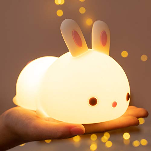Cute Bunny Baby Night Light Kids Lamp, 7 Colour Changing LED Portable...