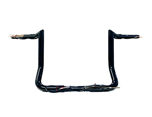 Dominator Industries 1 1/4' PRE-WIRED 12' Meathook Monkey Bar Ape Hangers Handlebars for 2014-2020 Harley-Davidson Bagger Touring Electra & Street Glide, Special, Ultra Limited, low (Gloss Black)