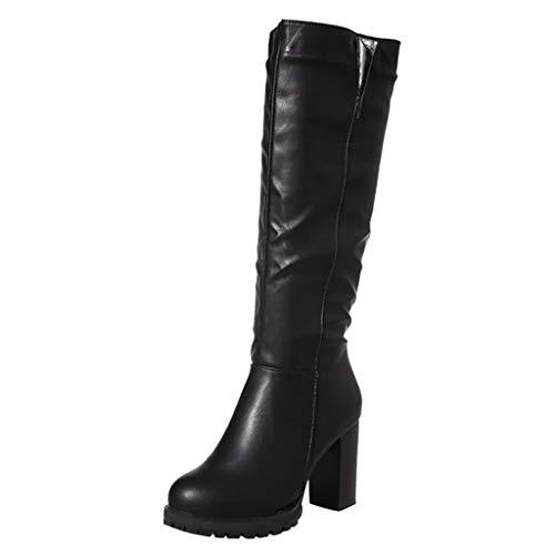 Logobeing Botas Mujer Rebajas, Zapatos de Tacón Alto de Mujer por Encima de La Rodilla Hebillas Botas de Cuero de Caballero de Tubo Largo Zapatillas (36, Negro)