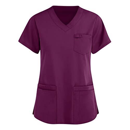 Amaeen Camiseta de Uniforme Sanitarios de Trabajo para Mujer, Blusa de Bolsillo con Estampado de Manga Corta con Cuello en V y Estampado Bonito Pijama Sanitario Uniforme Enfermera Casacas