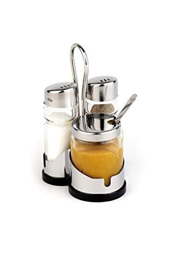 """APS Pfeffer- und Salzmenage """"Economic"""", 3-teilig mit Edelstahl-Behälter Pfeffer-und Salzstreuer, transparenter Glasbehälter mit Edelstahl-Deckel und Drehverschluss, dritter Glasbehälter für Senf, 8 x 8,5 cm, 13 cm Höhe"""
