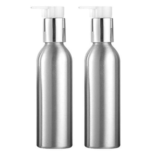 MagiDeal 2pcs Bouteilles en Aluminium pour Maquillage Cosmétique Shampooing, Flacon de Pompe Vide Réutilisable Récipients de Lotion Crème - 150 ml