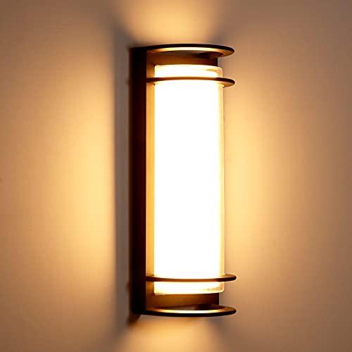 Anonry Moderno Aplique Pared Exterior 30W Apliques Pared LED 3000K Blanco Cálido Lampara Exterior Pared Impermeable IP65 Negro Para Baño, Salón, Dormitorio, Pasillo, Escalera 44*16*13