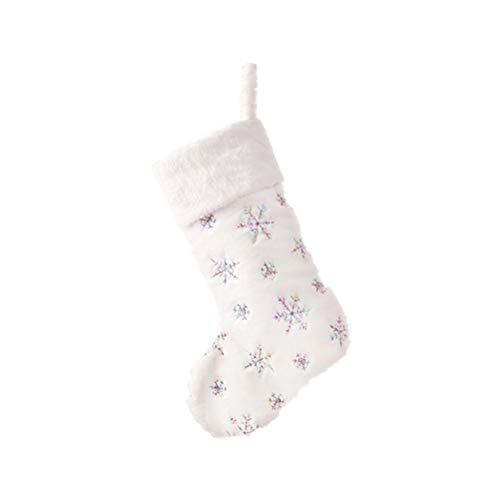 Pywee Nikolaus Stiefel mit Schneeflocke Nikolaussocken Weihnachtsstrumpf Kamin Strümpfe zum Aufhängen und Aufhängen für Kamin Weiß Verpackung, 19,29 * 12,59 Zoll