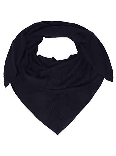 Zwillingsherz Dreieckstuch mit Kaschmir - Hochwertiger Schal im Uni Design für Damen Jungen und Mädchen - XXL Hals-Tuch und Damenschal - Strick-Waren für Sommer und Winter - 150cm x 120cm - navy