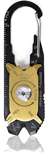 com-four® 20 in 1 Multifunktionskarabiner aus Edelstahl, Schlüsselanhänger in schwarz und goldfarben (01 Stück - Multifunktionskarabiner)
