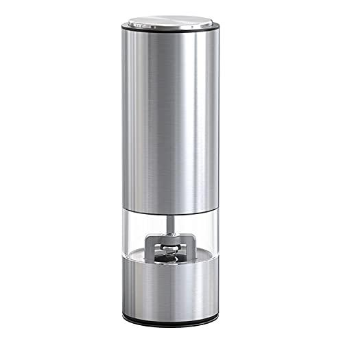[JOY SPACE] 電動 ミル スパイス ペッパー 結晶塩 セラミック刃 粗さ調節可能 シルバー KYMQ-2