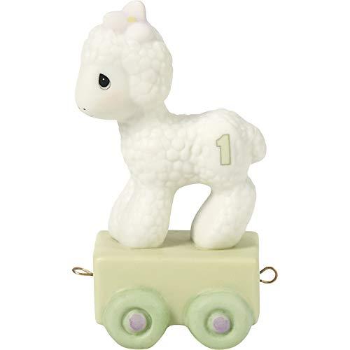 Precious Moments  Happy Birthday Little Lamb  Birthday Train Age 1  Bisque Porcelain Figurine  142021