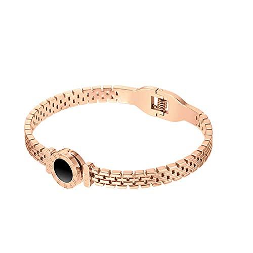 Pulsera para mujer, pulsera de rayas romanas vintage, brazaletes, oro rosa, para mujer, accesorios de joyería de San Valentín, regalo de cumpleaños