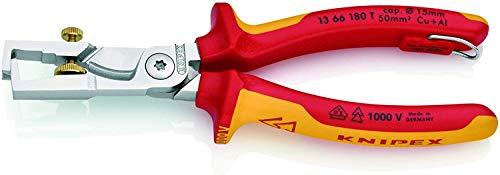 KNIPEX StriX Alicate pelacables con tijeras cortacables aislado 1000V (180 mm) 13 66 180 T BK (cartulina autoservicio/blíster)