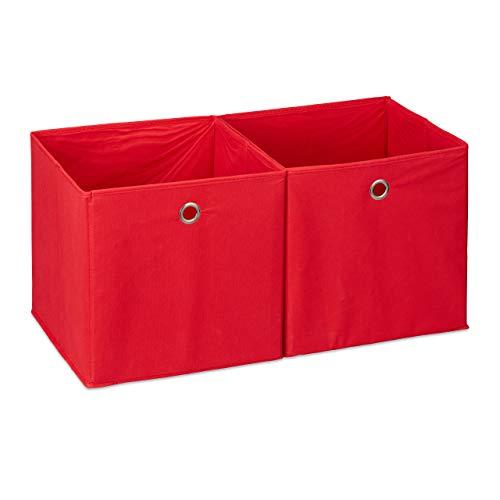 Relaxdays Aufbewahrungsbox Stoff 2er Set, quadratisch, Aufbewahrung für Regal, Stoffbox in Würfelform 30x30x30 cm, rot