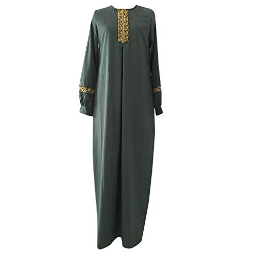Lazzboy Frauen Plus Größe Drucken Abaya Jilbab Muslim Maxi Casual Kaftan Langes Kleid Robe Maxikleid Langarm Sticken Gewand Abendkleid Große Dubai Hochzeit Tunika Lang Kleider(Grün,XL)