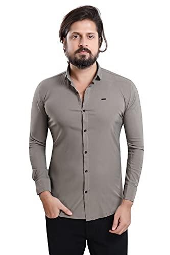 US BOND Slim Fit Cotton Lycra Regular Collar Stretchable Plain Shirt for Men- Grey, Size :-M (Brand Outlet)