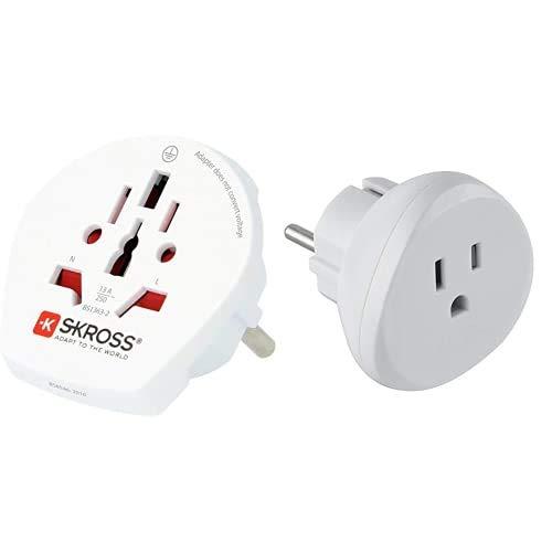Skross Single Travel Adapter - Europe - Inversor De Corriente, Color Blanco + Electraline 70059 Adaptador De Viaje USA A Tus Enchufes De Francia/Europa, Blanco