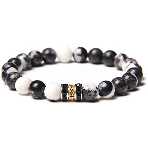 Men Bracelets Buddhism CZ Tube Charm Bracelet For Women Vintage Natural 8 mm Rhodonite Beads Bangle Elastic Jewelry For Couples