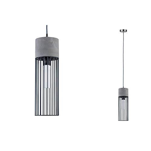Paulmann 79618 Neordic Henja máx. 1x20 W, Colgante para lámparas E27, luminaria de Techo Acero Mate 230V hormigón/Metal, sin Fuente de luz, Gris, Hierro mateado