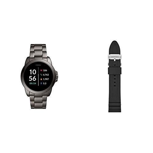 Fossil Connected Smartwatch Gen 5E para Hombre con tecnología Wear OS de Google, frecuencia cardíaca, GPS, NFC y notificaciones smartwatch, Acero Inoxidable + Correa para Reloj S221304