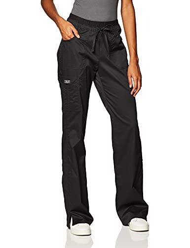 Cherokee Women s Workwear Core Stretch Low Rise Cargo Scrubs Pant, Black, Medium Petite