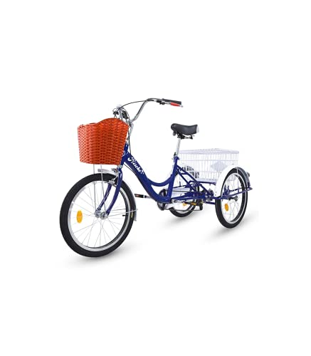 Riscko Triciclo para Adultos con 2 Cestas, 6 Velocidades, Asiento Y Manillar Ajustable Mod. Bep-14 Azul Oscuro Sin Montaje